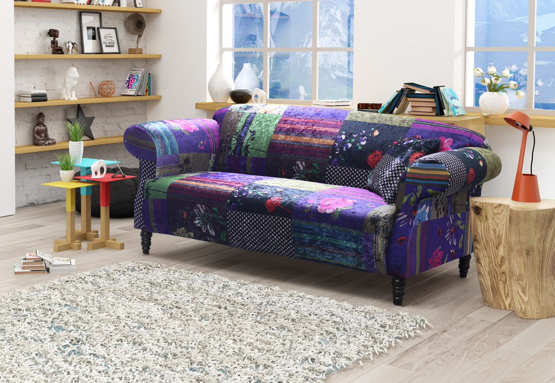 Details about shout sofa maxi patchwork ls22031 - Details About Shout Sofa Maxi Patchwork Ls22031 The Anna Shout Patchwork Fabric Designed Sofa