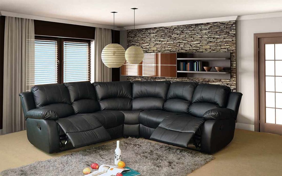 Leather corner sofa with recliner furniture modern black for Natuzzi outlet valencia