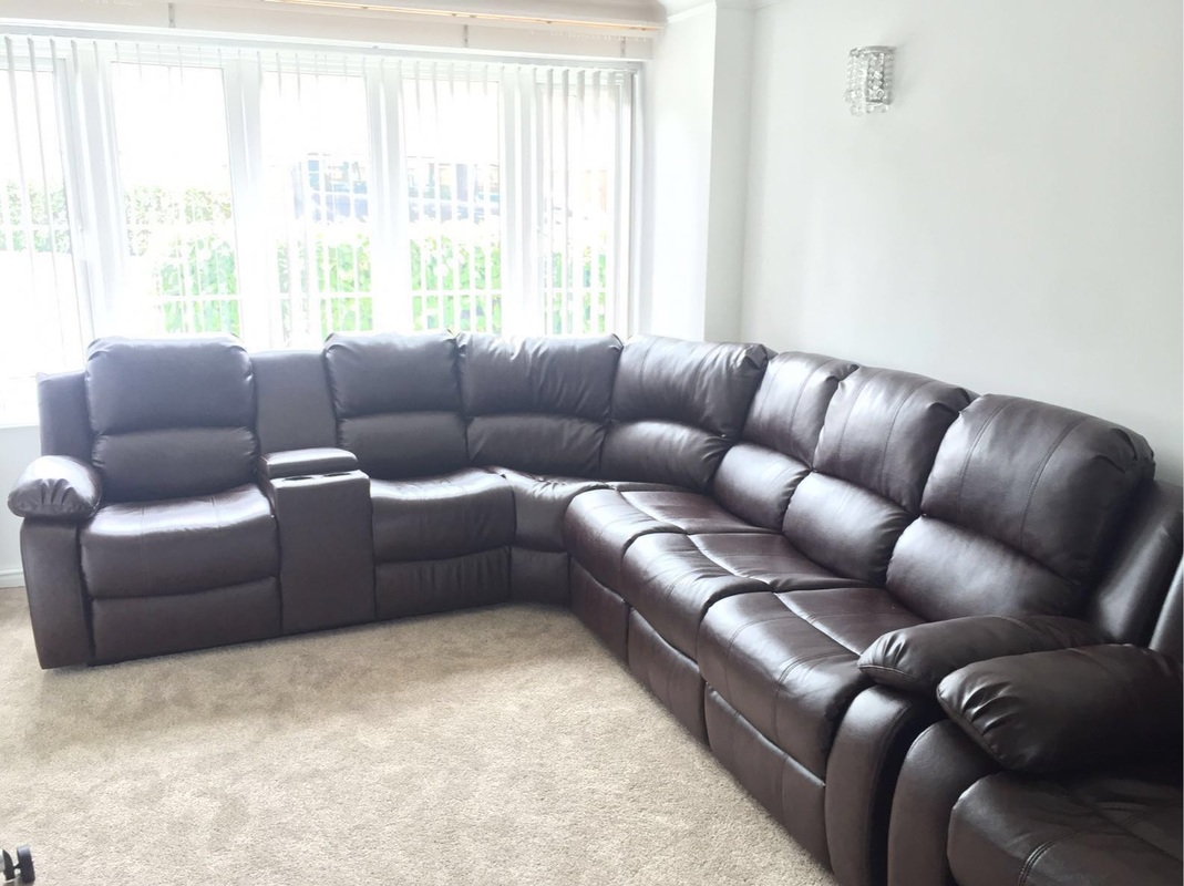 Miami leather corner hi 5 home furniture for Leather sectional sofa miami